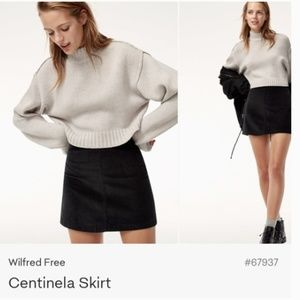 ARITZIA Wilfred Free 00 Black Corduroy Mini Skirt